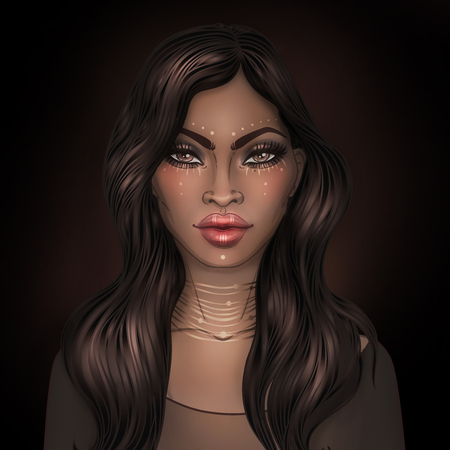 African American pretty girl. Raster Illustration of Black Woman with glossy lips and  long beautiful dark hair. Great for avatars. Illustration isolated on black.