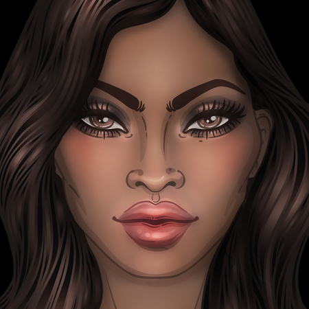 biracial: African American pretty girl. Raster Illustration of Black Woman with glossy lips and  long beautiful dark hair. Great for avatars. Illustration isolated on black.