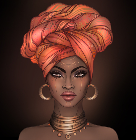 African American pretty girl. Raster Illustration of Black Woman with glossy lips and turban. Great for avatars. Illustration isolated on white. Stok Fotoğraf - 78136673
