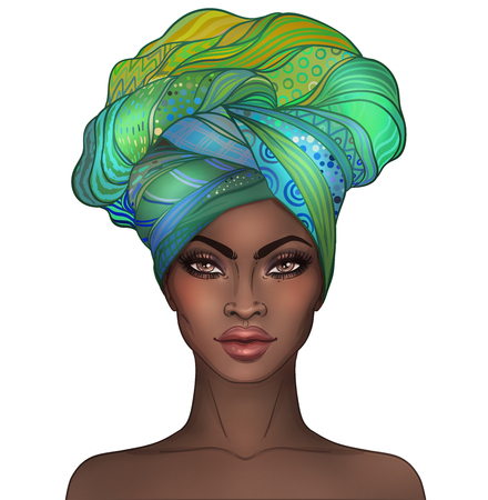 African American niña bonita. Raster Ilustración de mujer negra con labios brillantes y turbante. Ideal para avatares. Ilustración aislado en blanco. Foto de archivo - 78200124