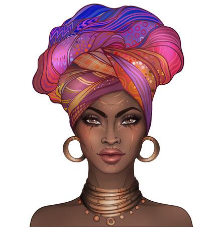 Afro-Amerikaanse mooie meid. Raster illustratie van zwarte vrouw met glanzende lippen en tulband. Geweldig voor avatars. Illustratie op wit wordt geïsoleerd. Stockfoto