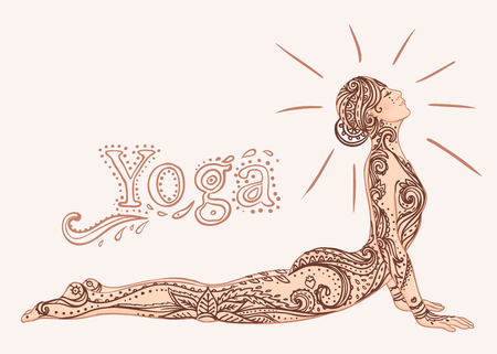Jong mooi meisje doet yoga. Vintage decoratieve illustratie. Hand getekende achtergrond. Mehenidi sierlijke decoratieve stijl. Yoga studio concept, Indiase, Hindoese motieven. Stockfoto
