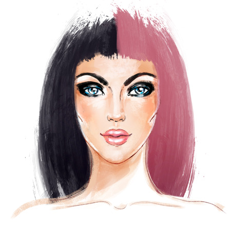smoky eyes: Split-Dyed Hair Trend. Woman face. Half Dyed Hair. Style trend. Hand painted fashion illustration isolated on white. Professional hair Coloring. Bob haircut and smoky eyes.
