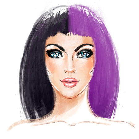 Split-Dyed Hair Trend. Woman face. Half Dyed Hair. Style trend. Hand painted fashion illustration isolated on white. Professional hair Coloring. Bob haircut and smoky eyes.