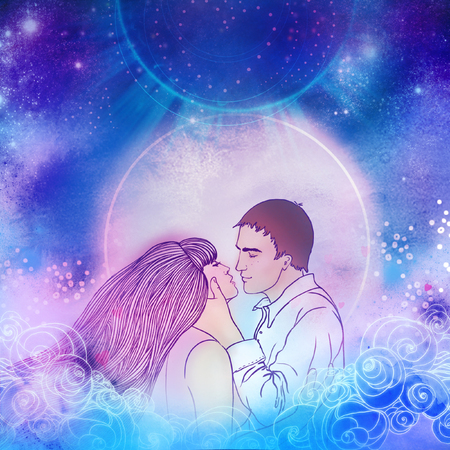 Young beautiful couple kissing in the moonlight. Romantic love, Valentines day concept. Raster illustration. Wedding invitation design. Stock Photo