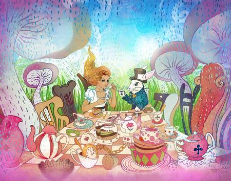 Mad Tea Party. Ilustración de las aventuras de Alicia en el país de las maravillas. Muchacha, conejo blanco bebe de tazas debajo de setas gigantes. Invitación para fiesta de estilo diseño de país de las maravillas, postal, póster, cuento de hadas