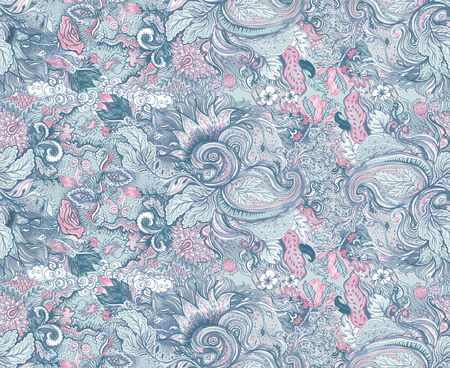 Pattern with beautiful ornate flowers. Linear painting, tropical spring summer floral, boho chic print for fashion. Intricate flowers over leafy background. Floral illustration. Textile.