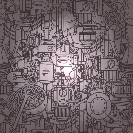 Steampunk seamless pattern. Science, technology, vintage, progress, chemistry, science, mechanism, diesel punk. Retro style industrial design for wrapping paper or background. Repetition illustration. Фото со стока