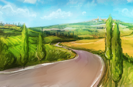 Tuscany: Rural landscape with fields and hills. Watercolor Illustration. Stock Photo