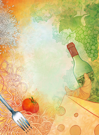 Raster hand drawn illustration Mediterranean cuisine. Wine, cheese,  Stock Photo