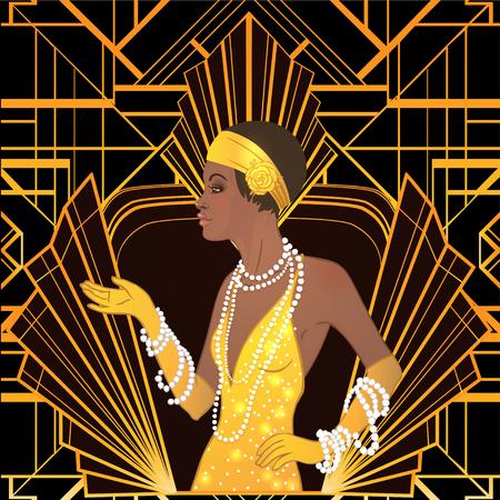 Retro moda: glamour ragazza di vent'anni (donna afroamericana). Illustrazione vettoriale. Stile Flapper 20's. Tema di design invito di partito d'epoca. Signora nera fantasia.
