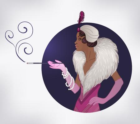 Mode rétro: glamour fille des années vingt (femme afro-américaine). Illustration vectorielle. Le style de Flapper 20. Modèle vintage de conception d'invitation de fête. Fille noire. Banque d'images - 78830487