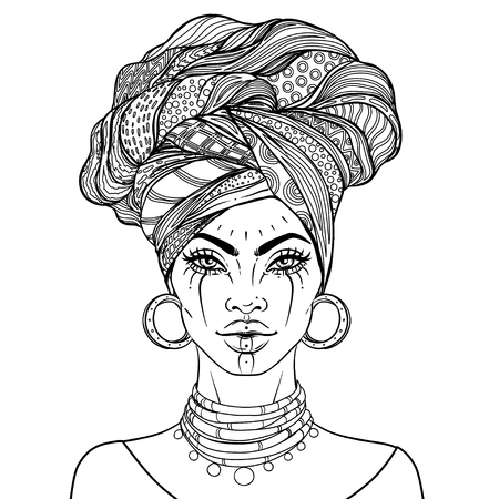 African American pretty girl. Vector Illustration of Black Woman with glossy lips and turban. Great for avatars. Illustration isolated on white. Coloring book for adults.
