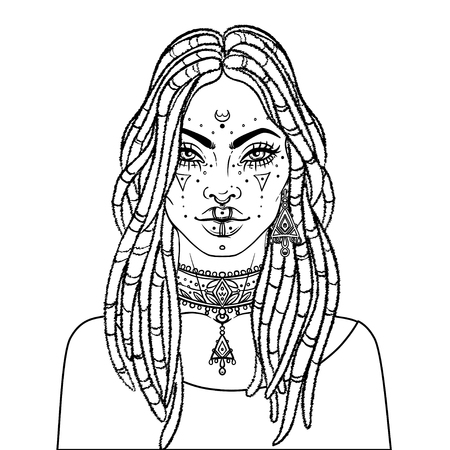 African American pretty girl. Vector Illustration of Black Woman with dread locks glossy lips. Great for avatars. Illustration over white background. Coloring book for adults. Illustration