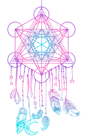 Native American Indian talisman dream catcher with Metatrons Cube, Flower of life, feathers, moon.