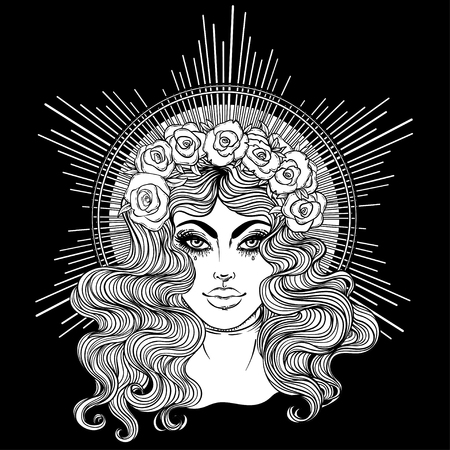 마돈나, 슬픔의 여인. 복 되신 성모 마리아의 천국의 여왕의 깨끗한 마음에 헌신. 벡터 일러스트 레이 션. 성인을위한 색칠하기 책. 문신 디자인.