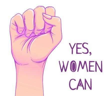 Sí, las mujeres pueden. La mano de la mujer con el puño levantado. Poder femenino. Concepto de feminismo. Ilustración del vector del estilo realista en colores pastel rosados ??del goth aislados en blanco. Etiqueta engomada, diseño gráfico del remiendo.