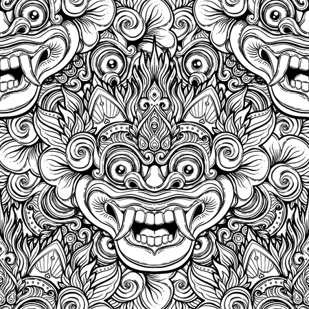 Barong. Traditional ritual Balinese mask. Vector decorative ornate outline black and white seamless pattern. Hindu ethnic symbol, tattoo art, yoga, Bali spiritual design for print, t-shirt, textile.