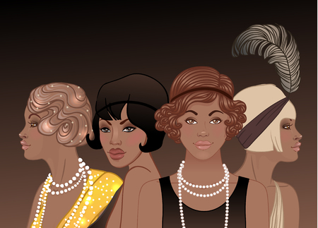 Retro fashion: glamour girl of twenties (African American woman). Vector illustration. Flapper  20s style. Vintage party invitation design template. Fancy black lady.