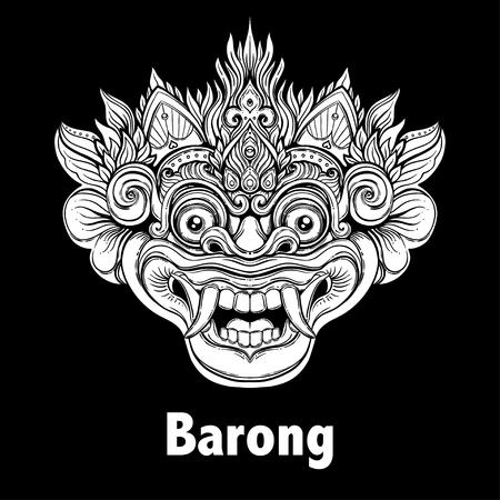 バロン。伝統的なバリのマスクの儀式。ベクター装飾の華やかなアウトライン イラスト分離されました。ヒンドゥー教の民族のシンボル、タトゥー