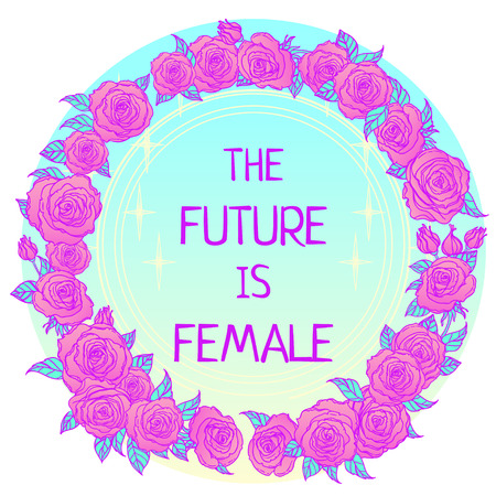 The future is female. Girl Power. Feminism concept. Realistic style vector illustration in pink  pastel goth colors isolated on white. Sticker, patch graphic design. Иллюстрация