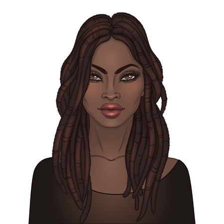 African American pretty girl. Raster Illustration of Black Woman with glossy lips, dreadlocks and gold tattoos or tribal style face paint on her face and neck. Great for avatars. Illustration isolated