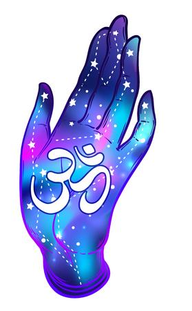 om sign: Open hands with galaxy inside showing om sign. Hand drawn illustration. Occult design vector illustration.  Dotwork ink tattoo flash design. Vector isolated on white. Astrology, Sacred Spirit. Illustration