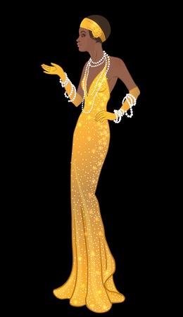 Retro Mode: Glamour Mädchen von zwanziger Jahren (African American Frau). Vektor-Illustration. Flapper 20's Stil. Weinlese-Party Einladungsentwurfsschablone. Fancy schwarze Dame.