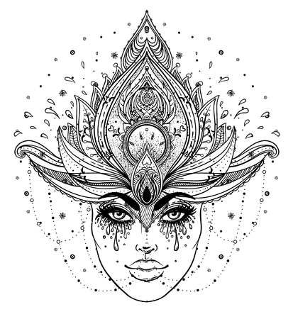 color tribal tattoo: Tribal Fusion Boho Diva. Beautiful Asian divine girl with ornate crown, kokoshnik inspired. Illustration