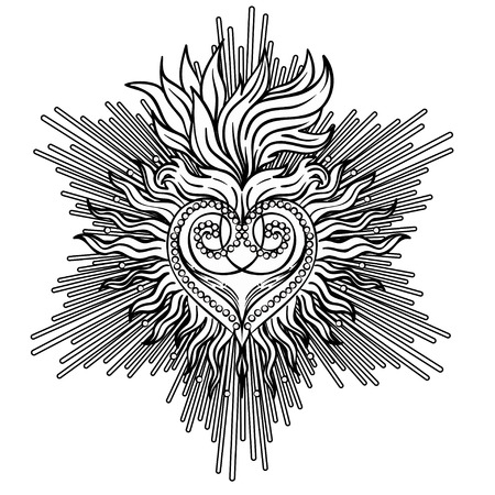 occultism: Sacred Heart of Jesus with rays. Vector illustration black isolated on white. Trendy Vintage style element. Spirituality, occultism, alchemy, magic, love. Coloring book for adults. Illustration