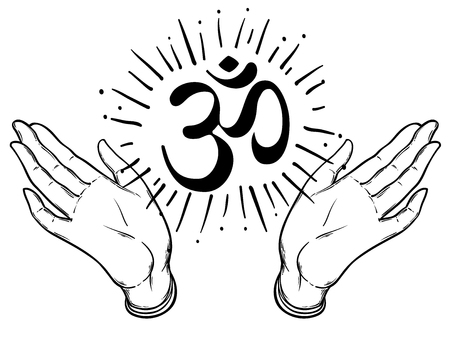 aum: Illustration of two hands showing om sign. Dotwork ink tattoo flash design. Vector illustration isolated on white. Astrology, Sacred Spirit. Hinduism.