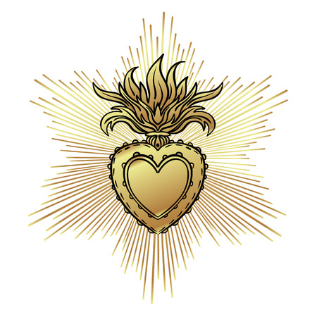 Sacred Heart of Jesus with rays. Vector illustration black isolated on white. Trendy Vintage style element.
