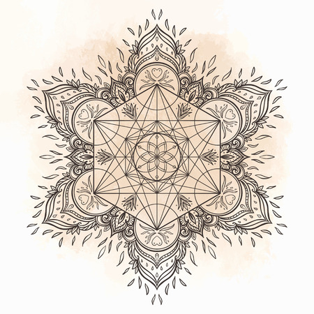 kundalini: Decorative mandala round pattern with sacred geometry element Metatron Cube, powerful symbol, Flower of Life. Alchemy, philosophy, spirituality. Design music cover, t-shirt, poster, flyer. Astrology. Illustration