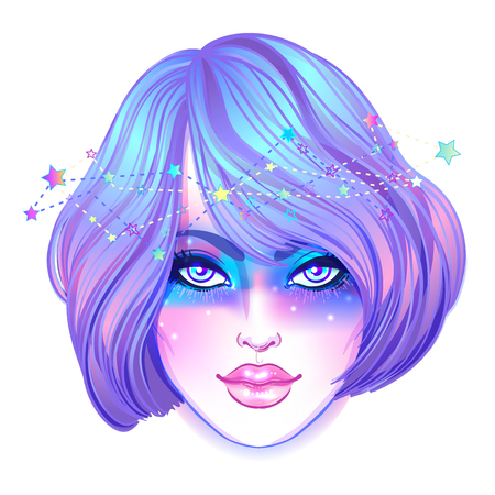 Cute teen girl with galaxy make up, dyed purple hair and stars, constellations. Art nouveau and kawaii gothic inspired. Hipster, pastel goth, vibrant colors. Vector zodiac illustration.