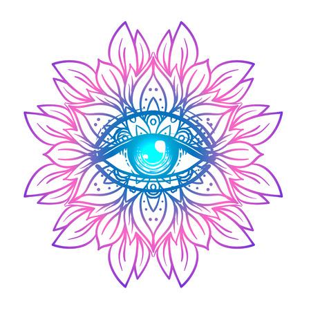 Símbolo sagrado de la geometría con todo el ojo que ve en colores ácidos. Místico, alquimia, concepto oculto. Diseño para la cubierta indie de la música, impresión de la camiseta, cartel psicodélico, aviador. Astrología, esoterismo, religión. Ilustración de vector