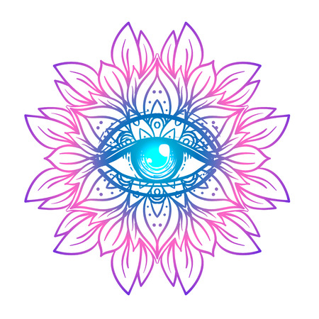Sacred geometry symbol with all seeing eye in acid colors. Mystic, alchemy, occult concept. Design for indie music cover, t-shirt print, psychedelic poster, flyer. Astrology, esoteric, religion. Illustration
