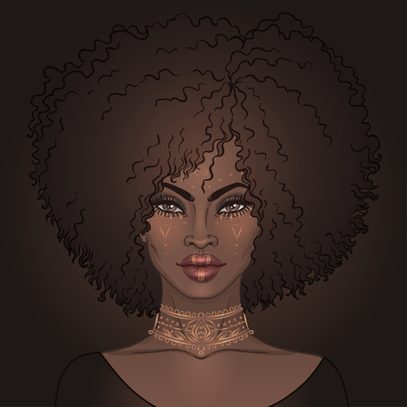 African American pretty girl. Vector Illustration of Black Woman with gold tattoos or face paint on her face and neck . Great for avatars.