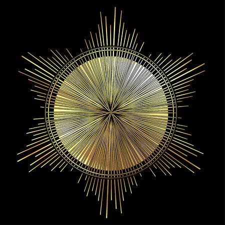 Sluneční paprsky jako světlo. Ručně kreslené vektorové ilustrace izolované na černé v vintage rytého stylu. Line art tetování šablony. Prvek scrapbooku. Symbol hrdosti a slávy Ilustrace