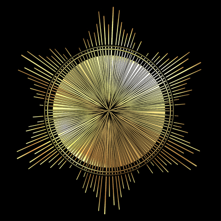 Stralen van licht als een halo. Hand getekende vectorillustratie geïsoleerd op zwart in vintage gegraveerde stijl. Lijn kunst tattoo sjabloon. Scrapbook element. Symbool van trots en glorie