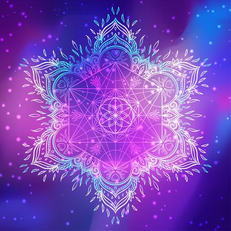 Dekorative Mandala runde Muster mit heiligen Geometrie Element Metatron Cube, kraftvolles Symbol, Blume des Lebens. Alchimie, Philosophie, Spiritualität. Design-Musik-Cover, T-Shirt, Poster, Flyer. Astrologie. Vektorgrafik
