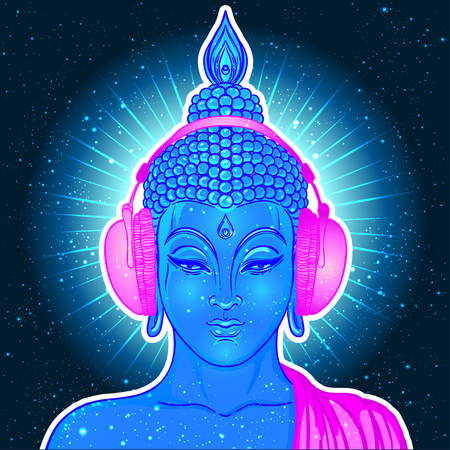 Bouddha moderne écoutant la musique dans les écouteurs aux couleurs néon isolées sur blanc. Illustration vectorielle. Composition psychédélique vintage. Indien, bouddhisme, musique de transe. Autocollant, conception de patch. Banque d'images - 78830551