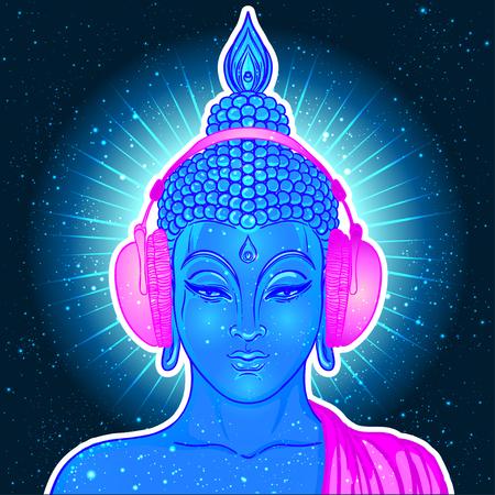 Buddha moderno che ascolta la musica in cuffie nei colori al neon isolati su bianco. Illustrazione vettoriale Composizione psichedelica d'epoca Indiano, buddismo, musica trance. Adesivo, patch design.