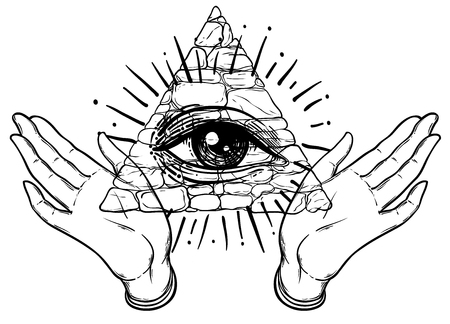 Female hands open around masonic symbol. New World Order. Hand-drawn alchemy, religion, spirituality, occultism. Black and white vector illustration in vintage style isolated on white.