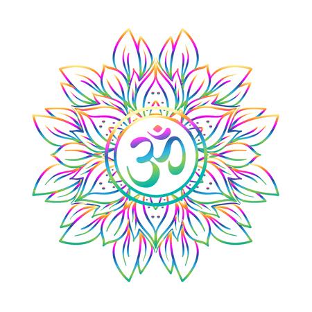 Symbole de Diwali Om avec mandala. Motif rond. Éléments vectoriels décoratifs de style vintage. Contexte dessiné à la main. Indien, Grand design pour le tatouage, le studio de yoga, les concepts de spiritualité, les textiles à la mode.