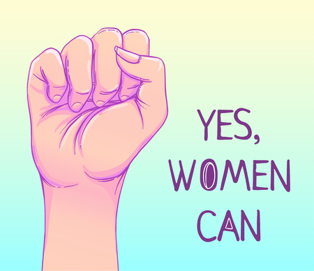 Yes, Women Can.  Womans hand with her fist raised up. Girl Power. Feminism concept. Realistic style vector illustration in pink  pastel goth colors. Sticker, patch graphic design.