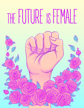 The future is female. Womans hand with her fist raised up. Girl Power. Feminism concept. Realistic vector illustration in pink  pastel goth colors. Sticker, patch graphic design.