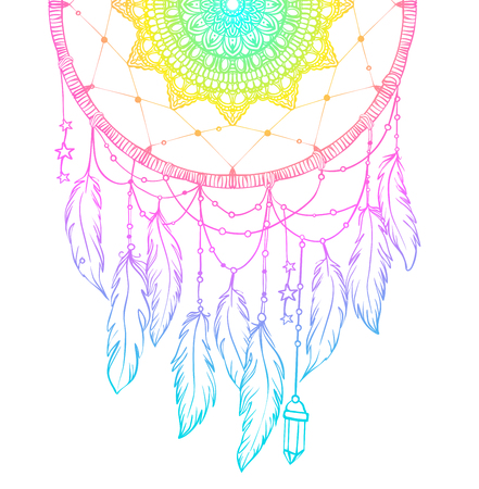 nap: Hand drawn Native American Indian talisman dreamcatcher with feathers and moon. Vector hipster illustration isolated on white. Ethnic design, boho chic, tribal symbol. Coloring book for adults. Illustration