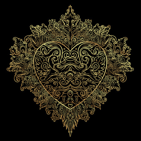 Ornamental Balinese style heart.  Vector Valentine's day ornate outline illustration isolated. Hindu ethnic symbol, tattoo art, yoga, Bali spiritual design for print, posters, t-shirts, textiles. Ilustração