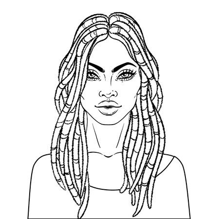 Afro-Amerikaanse mooie meid. Vector illustratie van zwarte vrouw met dread sloten glanzende lippen. Geweldig voor avatars. Illustratie op witte achtergrond. Kleurboek voor volwassenen. Gezichtsgrafiek.