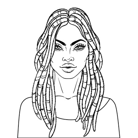 African American pretty girl. Vector Illustration of Black Woman with dread locks glossy lips. Great for avatars. Illustration over white background. Coloring book for adults. Face chart.